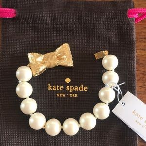 Kate Spade Pearl and Gold bow Bracelet